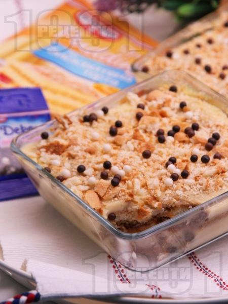 Лесна и бърза домашна торта с бишкоти и ванилов крем пудинг - снимка на рецептата